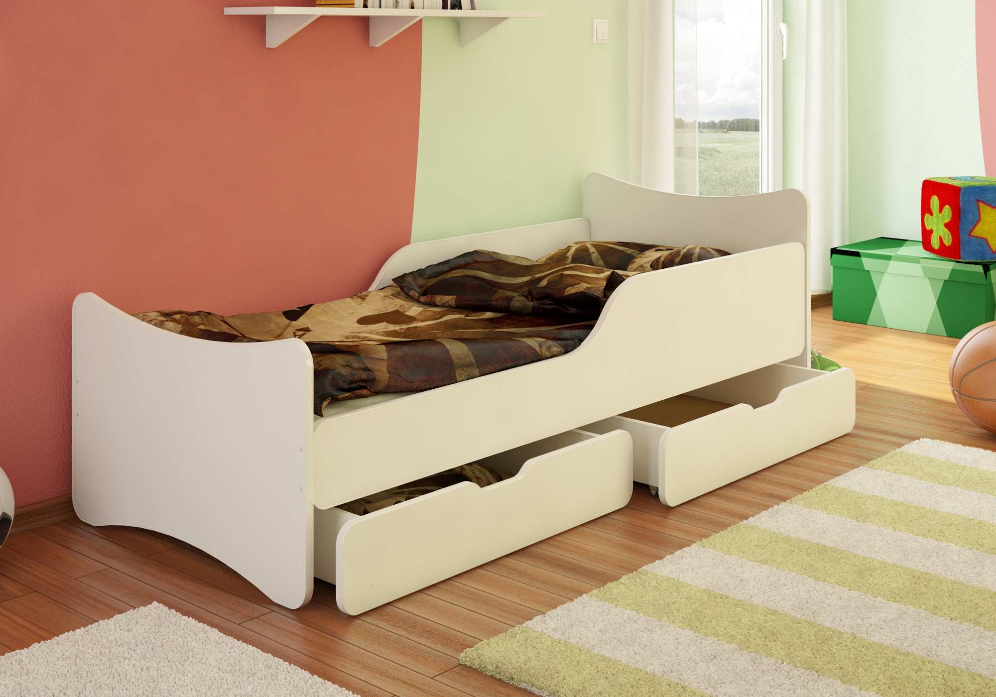 bfk bett kinderbett jugendbett wei weiss schubladen 80x180 90x180 80x200 90x200 ebay. Black Bedroom Furniture Sets. Home Design Ideas