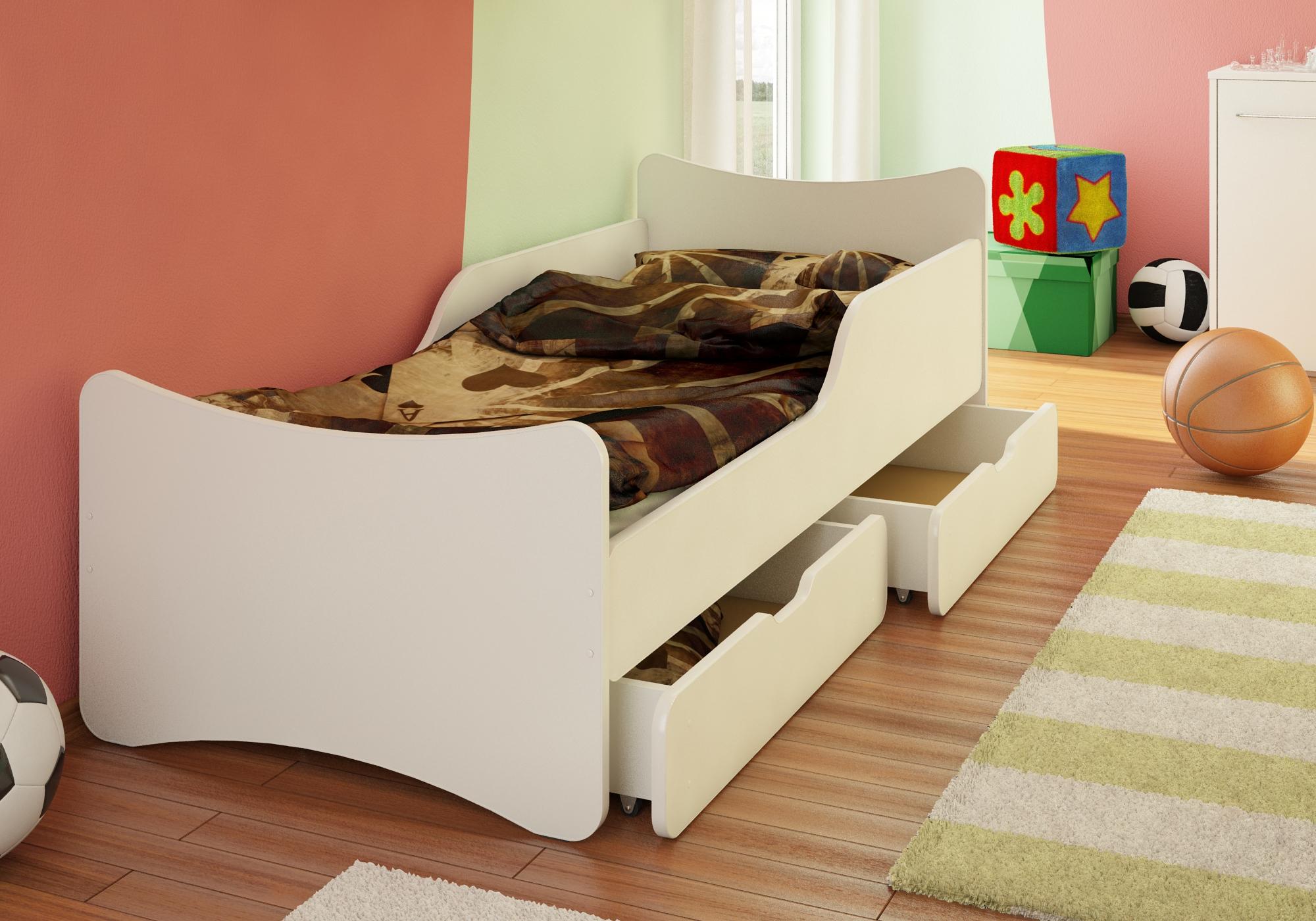 Bfk Bett Kinderbett Jugendbett Weiss Weiss Schubladen Matratze 90x200