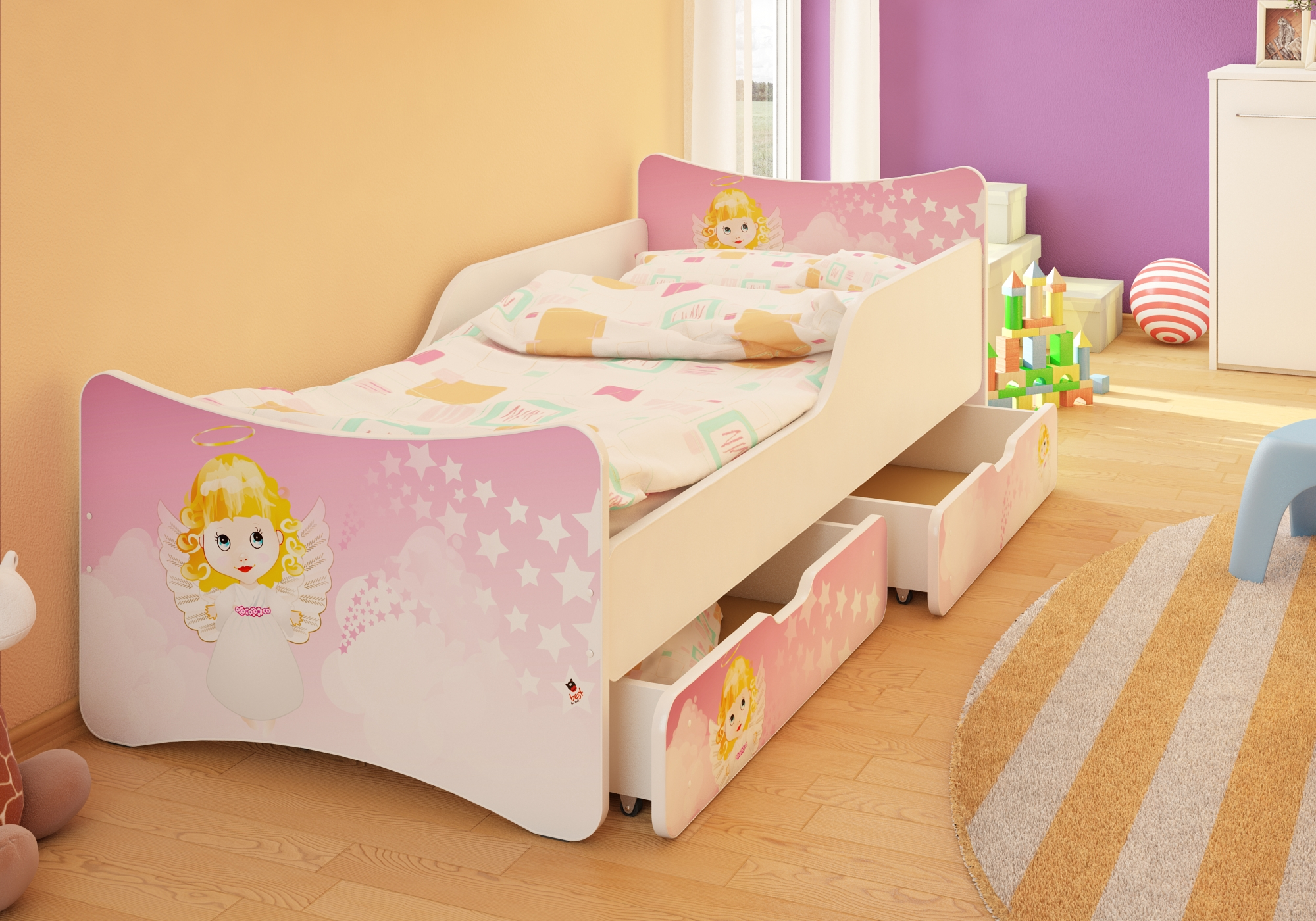bfk brandneu bett kinderbett jugendbett mit matratze lattenrost schubladen ebay. Black Bedroom Furniture Sets. Home Design Ideas