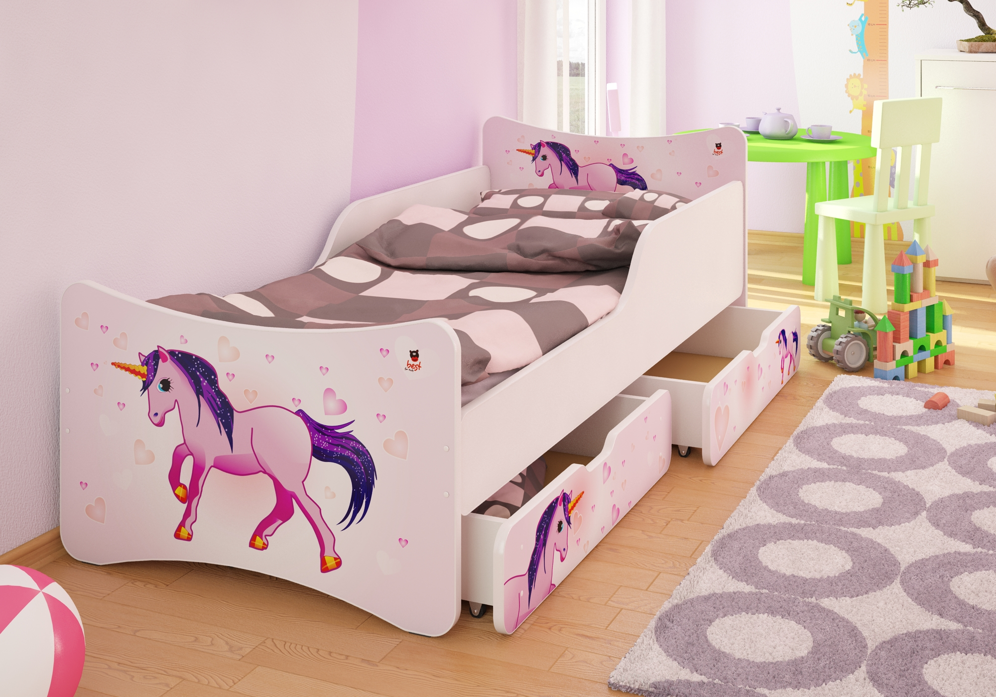 bfk brandneu bett kinderbett jugendbett mit matratze lattenrost schubladen ebay. Black Bedroom Furniture Sets. Home Design Ideas