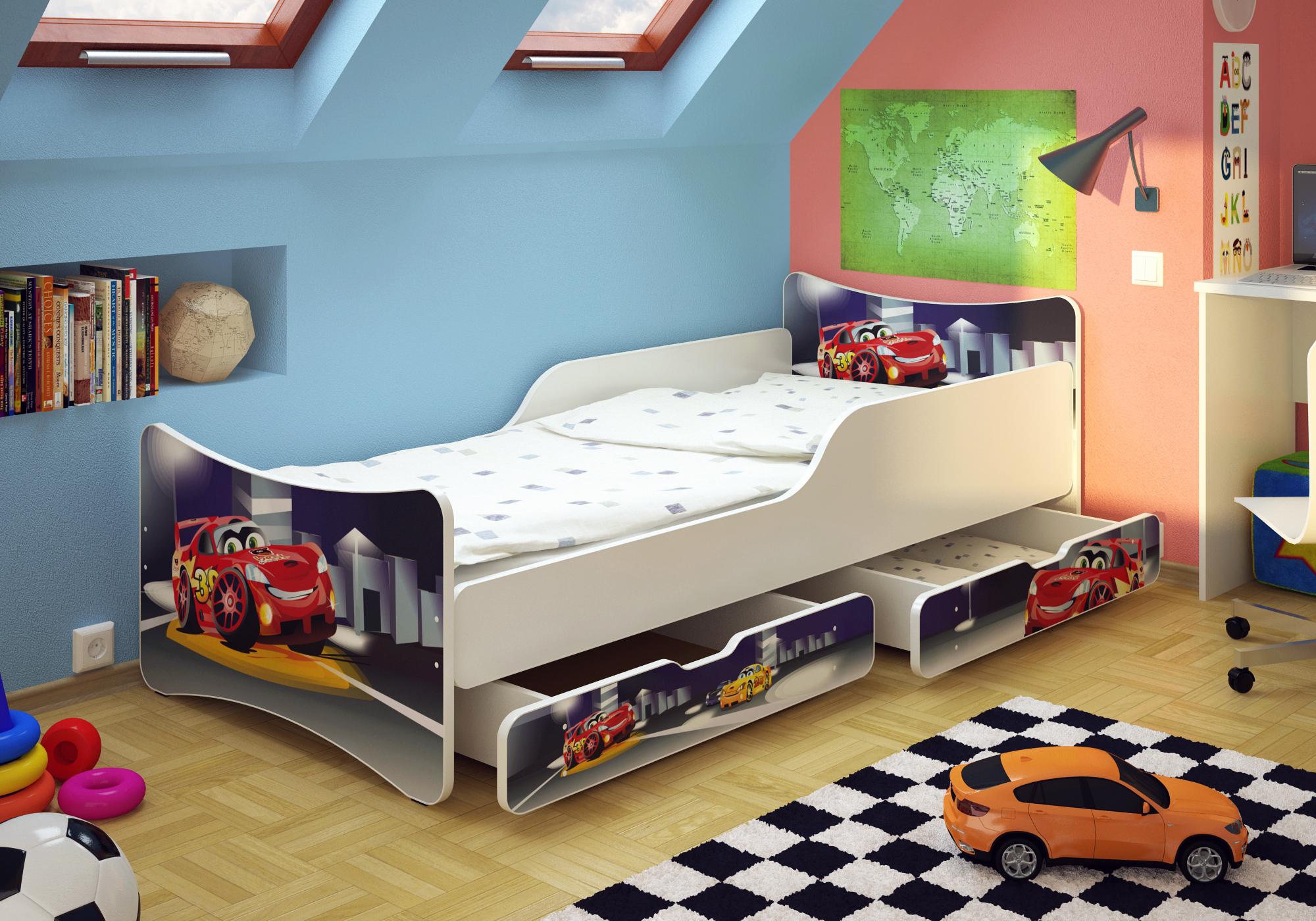 bfk car babybett kinderbett jugendbett 90x200 matratze. Black Bedroom Furniture Sets. Home Design Ideas